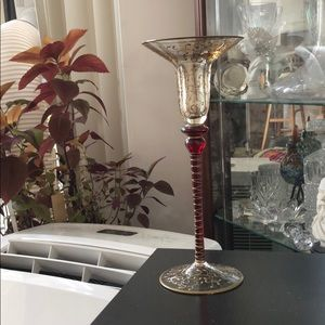 Photophore candle holder Red and Gold handpainted